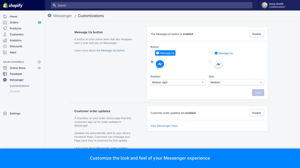 Messenger Shopify app
